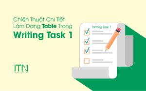 chiến thuật làm dạng table trong Writing task 1